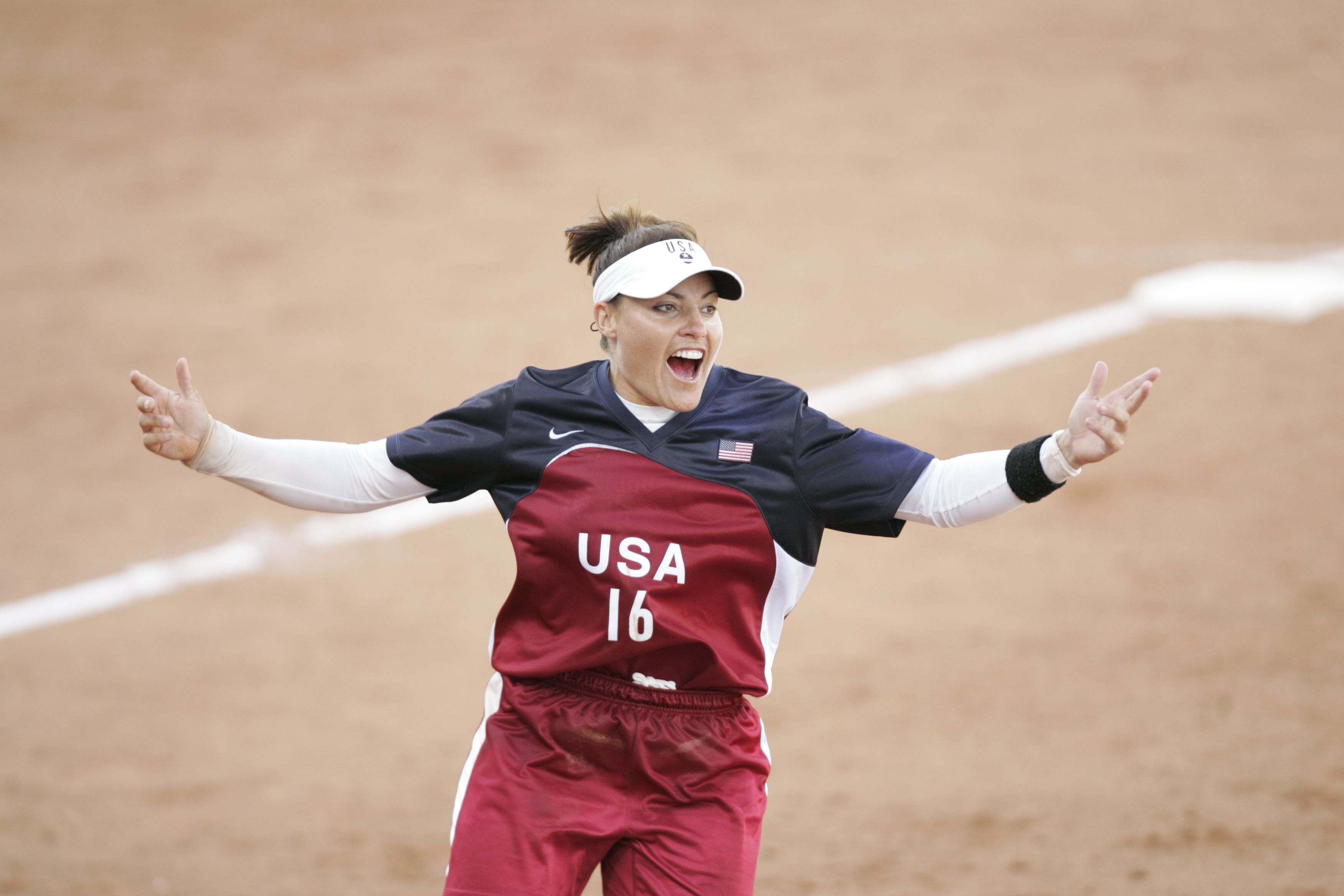 8/23/2004 -- ATHENS, Greece -- Softball GOLD Medal game USA vs Australia Lisa Fernandez of Long Beach, CA reacts to the final out and victory over Australia in the final on Monday in the Olympic Softball Stadium. Photo by Robert Hanashiro, USA TODAY Athens 2004 Olympic Games (Via MerlinFTP Drop)