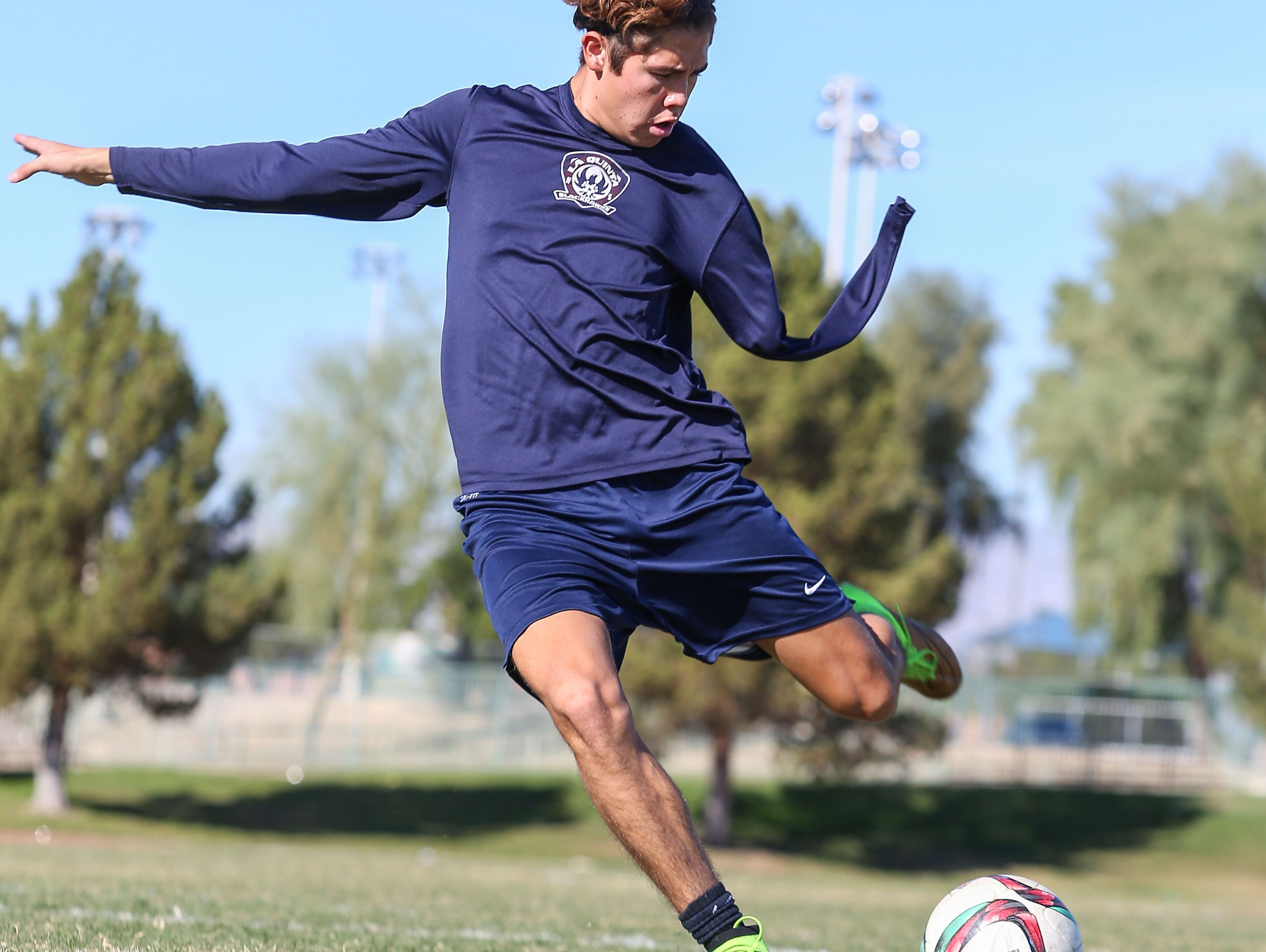 Lucas Rosales, who was born without an arm, is a senior soccer player at La Quinta High School, November 22, 2016.