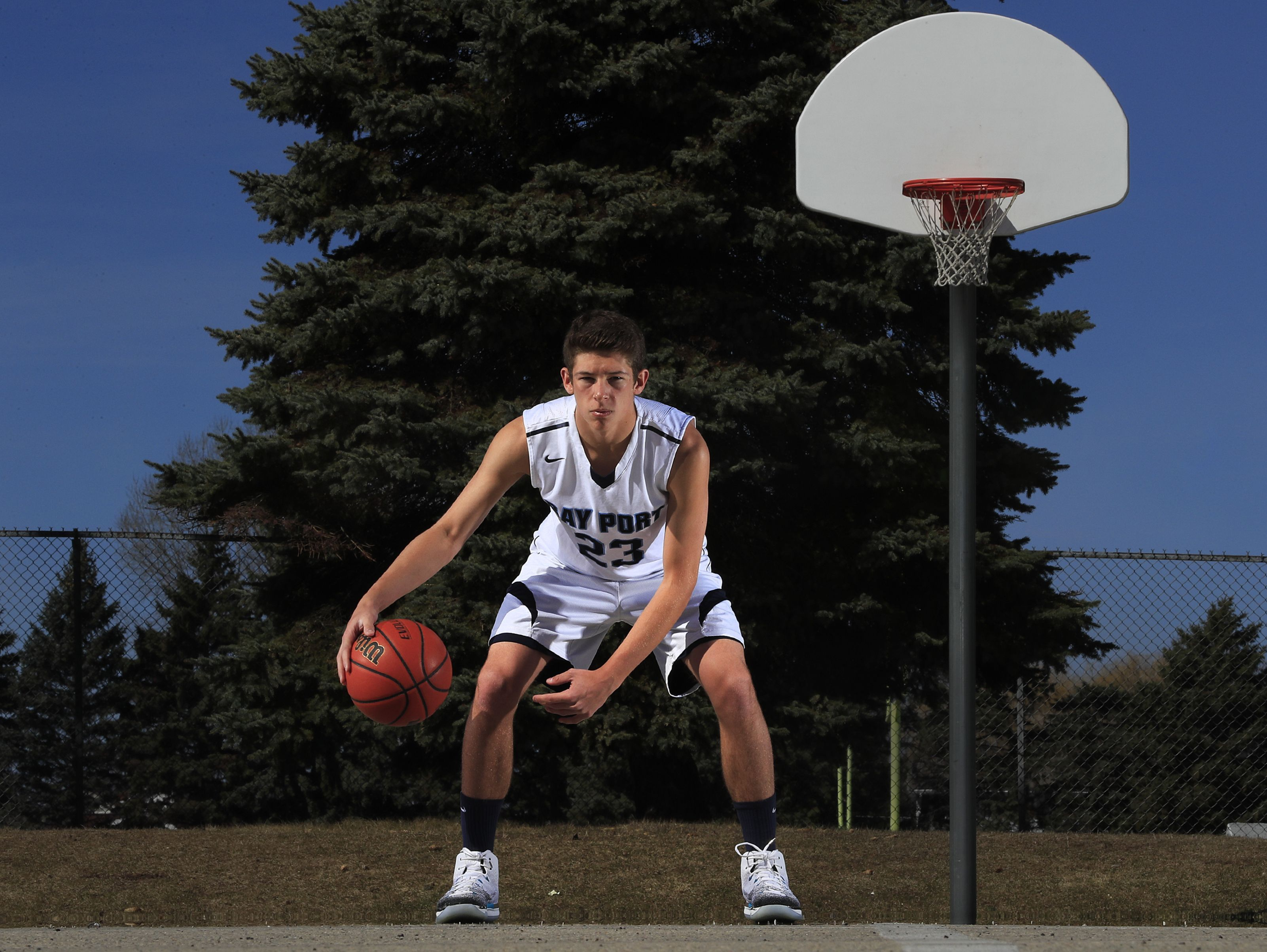 Bay Port's Jordan Nolle is the Press-Gazette boys basketball player of the year. Photographed at Bay View Middle School on Saturday, April 1, 2017, in Howard, Wis.