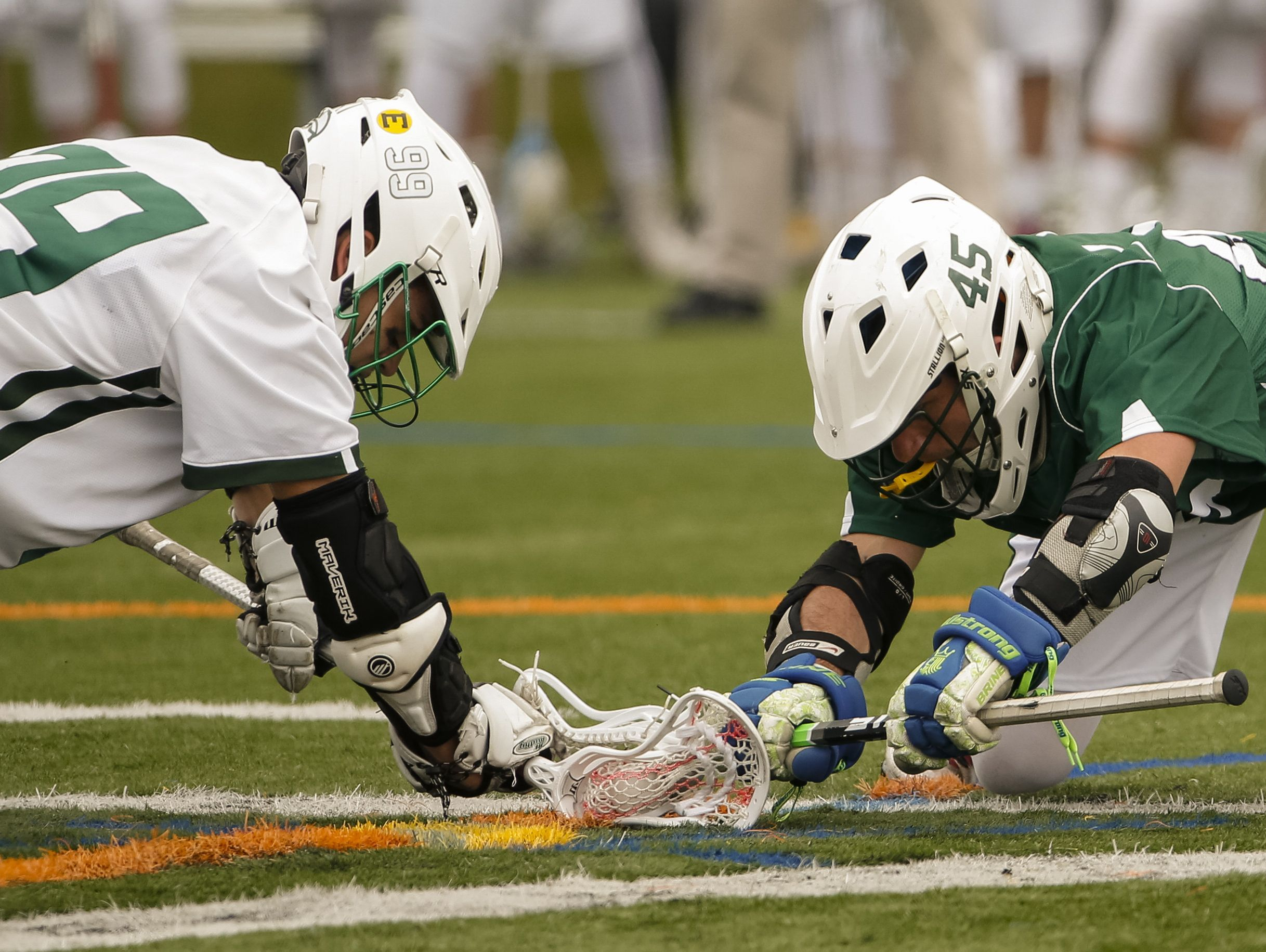 Archmere's Zane Fracek (left) squares off with Tower Hill's Ben Katz in the second half of Archmere's 12-7 win Saturday.