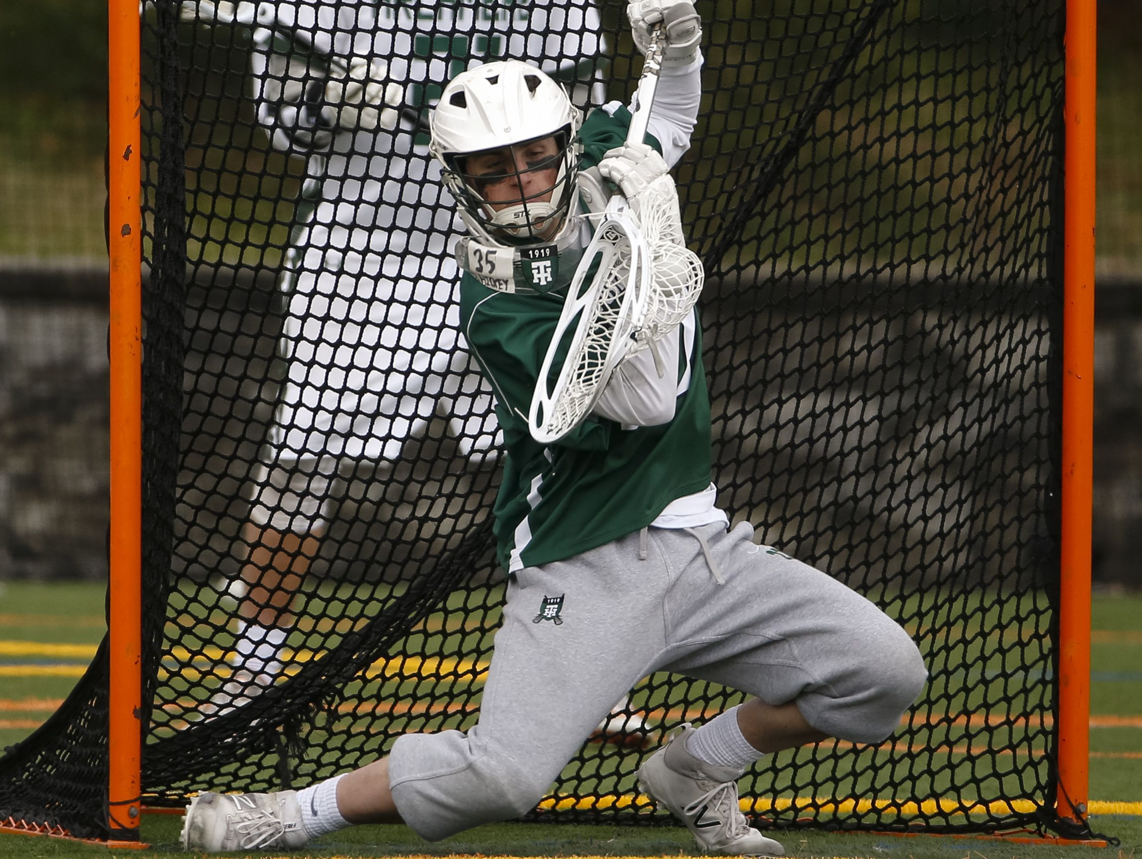 Tower Hill goalie Michael Gianforcaro makes a save in the second half of Archmere's 12-7 win Saturday.