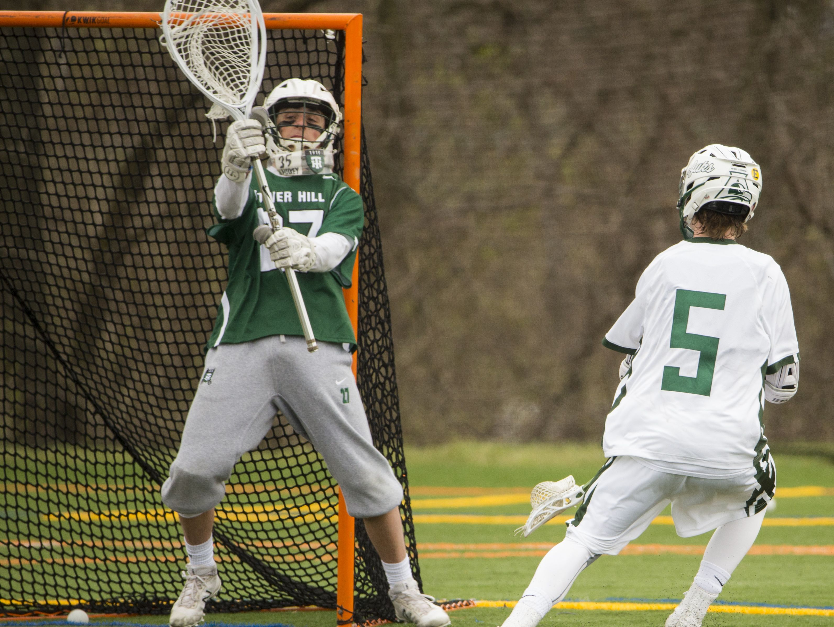 Tower Hill goalie Mike Gianforcaro can't stop a shot by Archmere's Xavier Glavin in the second half of Archmere's 12-7 win Saturday.