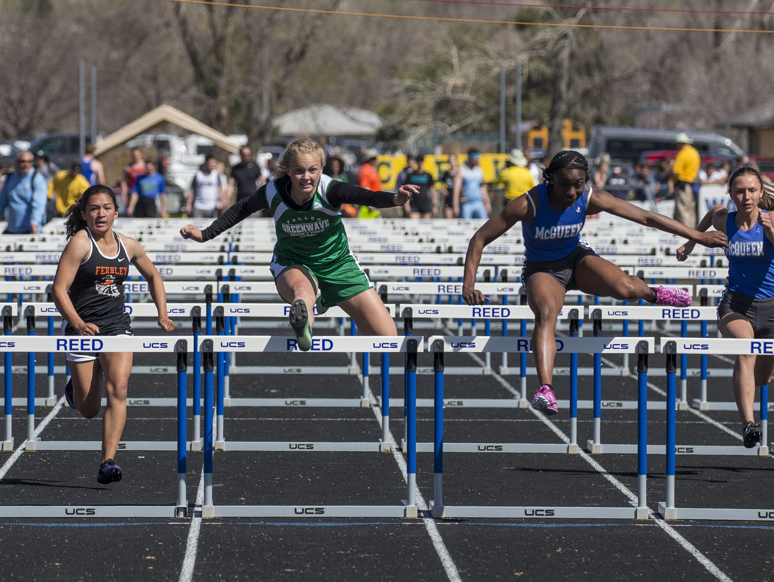 The girls 100-hurdle race at the Reed Sparks Rotary Invitational track and field event at Reed High School in Sparks on Saturday.