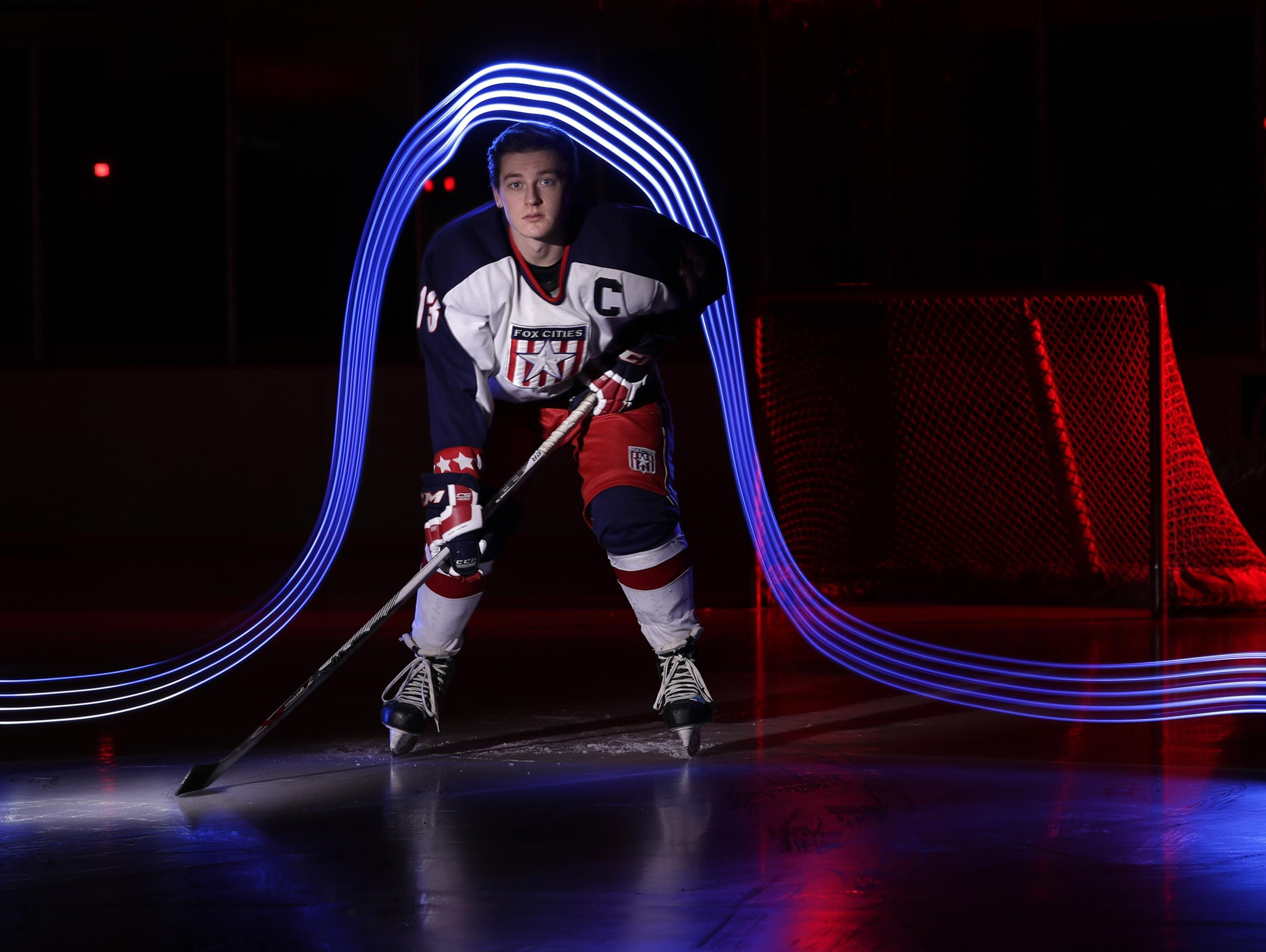 Fox Cities Stars' Hunter Schwehr, who lead in the Appleton area in scoring with 72 points on 40 goals and 32 assists, is Post-Crescent Media's boys hockey player of the year.