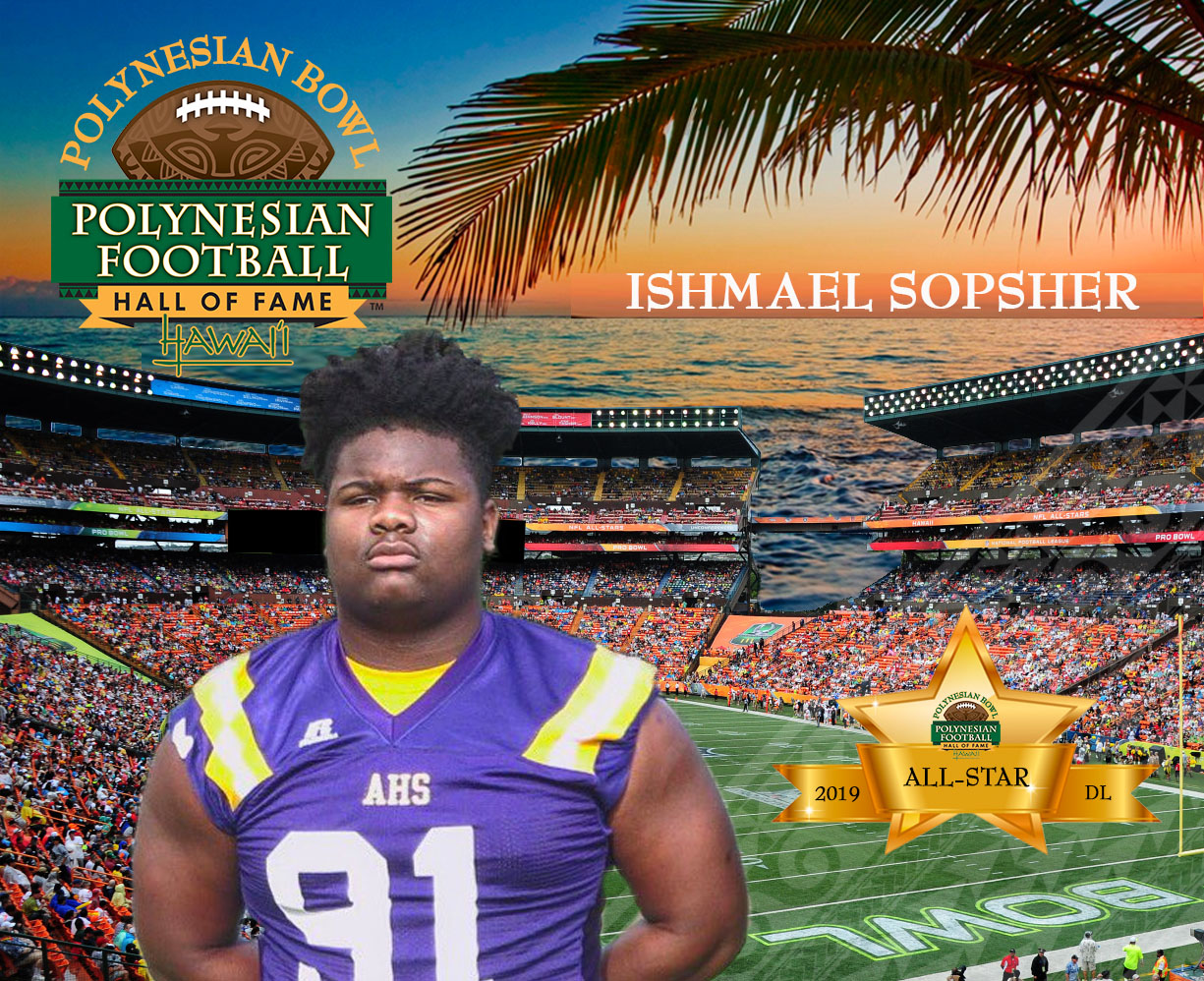 Five-star defensive lineman Ishmael Sopsher is among the first 24 commitments to the 2019 Polynesian Bowl. Background Photo: Scott Cunningham/Getty Images