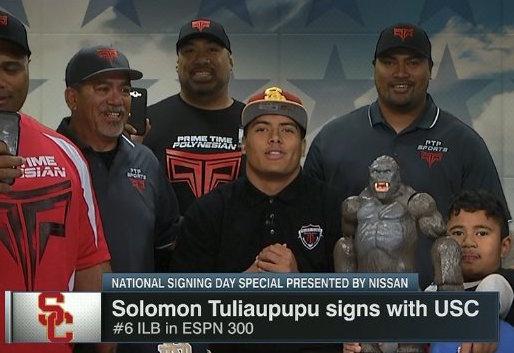 Solomon Tuliaupupu (Photo: @CampusSportsNet/Twitter screen shot)