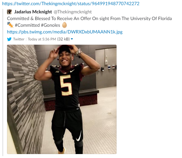 Jadarius McKnight's Tweet that accidentally committed him to Florida (Photo: The Spun screen shot)