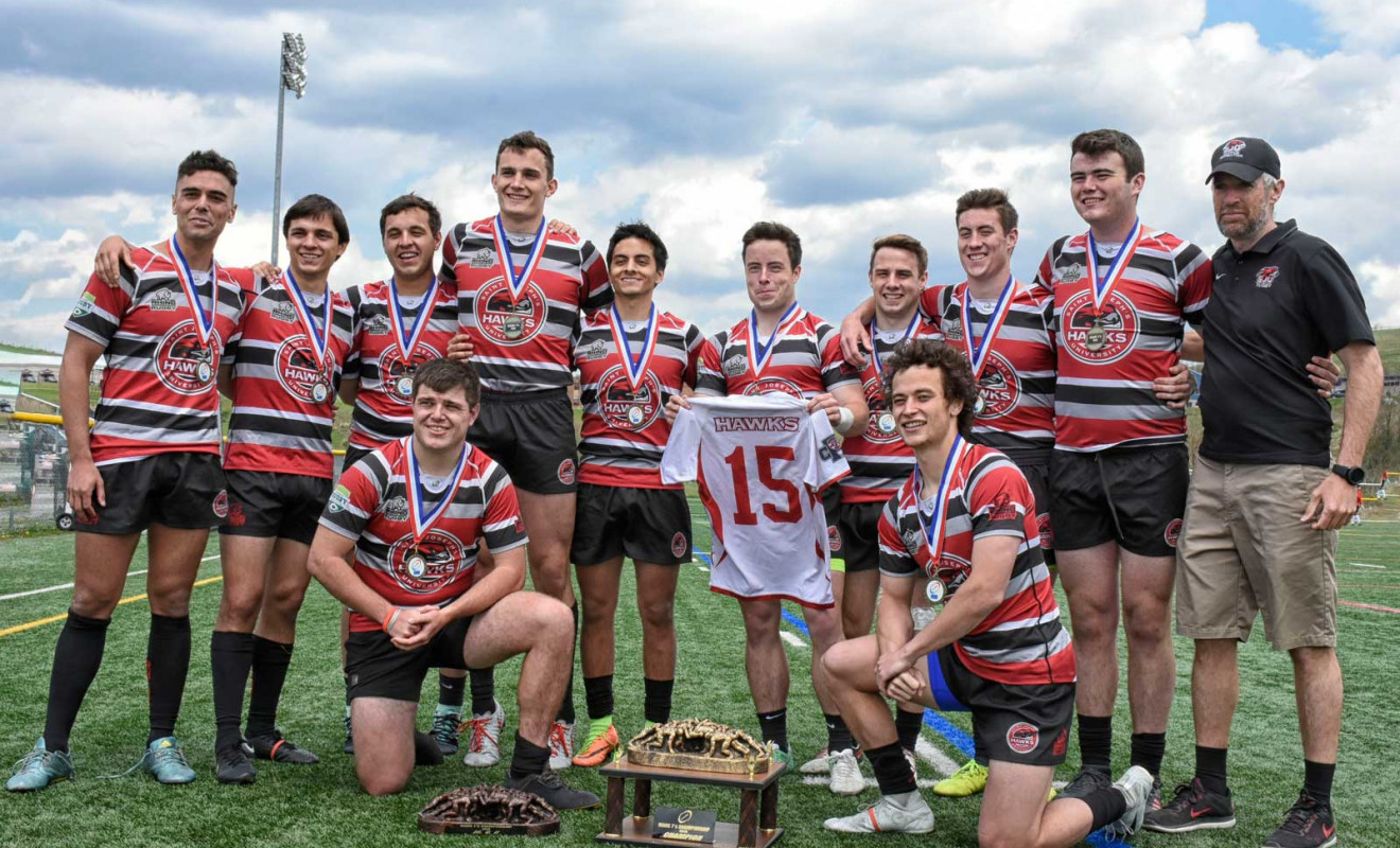 The St. Josephs rugby team remembers teammate Mark Dombroski Photo: Contributed Photo)