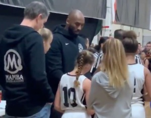 Photo: Kobe Bryant coaches his daugher Gigi's team at the MAMBA Sports Academy (Photo: @overtime/Twitter)