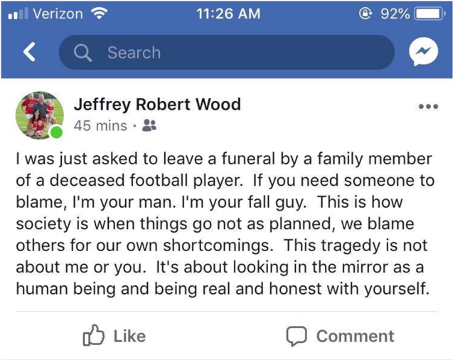 Jeffrey Robert Wood's comments about being kept outside of Maison Hullibarger's funeral (Photo: Facebook screenshot via Toledo Blade)